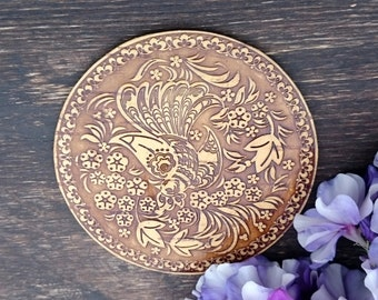 engraved compact mirror, handbag mirrors, mirror compact, gift for her, compact makeup mirror, stocking stuffer, intricate, rustic style