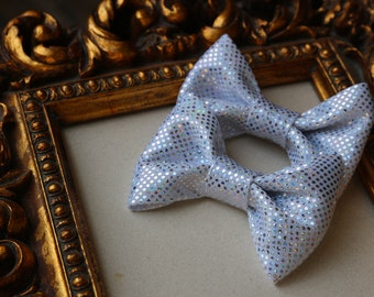 Silver Pigtails Hair Bow-  baby, tots, girls- custom bows for all ages
