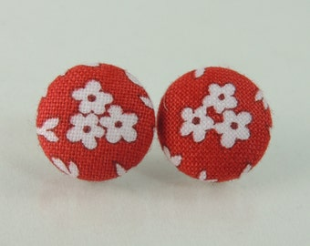Red and white flowers fabric button earrings