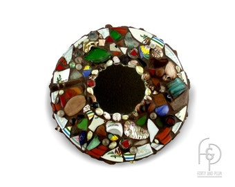 Mosaic Wall Mirror Hand Crafted Found Object Assemblage