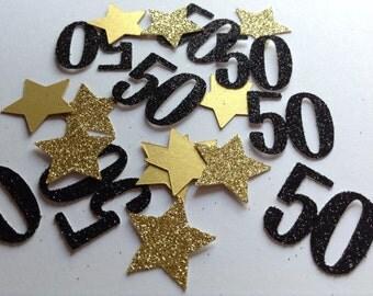 Gold and Black 50th Birthday Confetti, Party Table Confetti, Wedding Anniversay Confetti