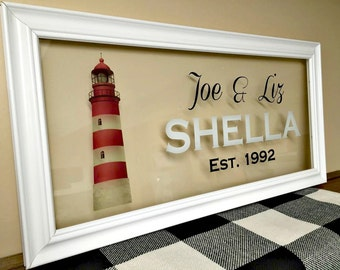 Family Sign, Family Name Sign, Beach Decor, Beach Wedding, Personalized Gift, Personalized Couple, Last Minute Gift, Last Name Sign, 10X20