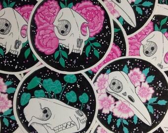 Set of 3 Floral Skulls