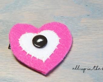 Heart Barrette - Pink Heart Barrette - Felt Heart Barrette