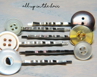 Button Bobby Pins - Button Hair Pins - Yellow Button Bobby Pins - White Button Bobby Pins - Stocking Stuffer - Christmas Gift