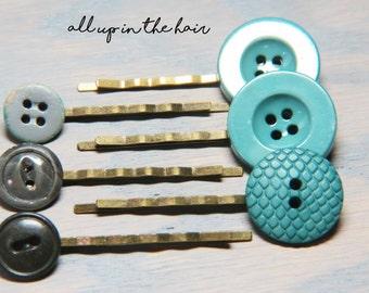 Green Bobby Pins - Grey Bobby Pins - Bobby Pin Set - Hair Pin Set - Button Bobby Pins - Button Hair Pins - Stocking Stuffer - Christmas Gift