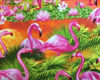 Timeless Treasures FLAMINGO SUNSET Premium Quality 100% Cotton Fabric - Per 1/2 yard