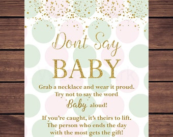 Pink Mint and Gold Don't Say Baby Baby Shower Game, Pink and Mint Dots Dont Say Baby Necklace Game Printable