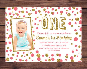 Coral and Gold 1st Birthday Invitation Girl, Any Age Coral Gold Confetti Girl First Birthday Photo Invitation, Polka Dot Printable JPEG