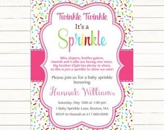 Pink Baby Girl Sprinkle Invitation, Sprinkles Pink Baby Sprinkle Invitation, Pink Baby Girl Sprinkle, printable Digital JPEG