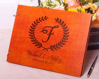 Guest book Wedding Rustic guestbook Wedding guest book Wood guestbook Laurel Leaves Custom Engraved Wedding album Rustic guest book Monogram
