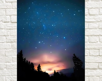 Silent Night - digital download. night photography. starry sky print. nature prints. night sky wall decor. dreamy night sky print.