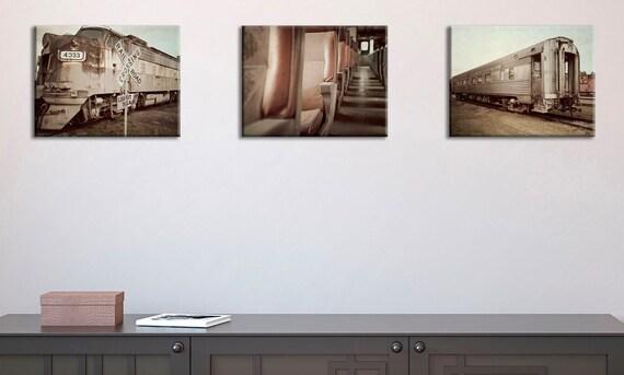 Discount set of 3 Vintage Train photo printwall by IprayStudio