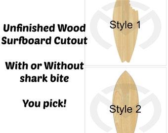 Unfinished Wood Surfboard Laser Cutout, Home Decor, Salt Life, Ocean, Shark, Birthday Decor, Various Styles & Sizes