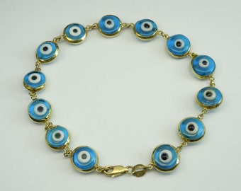 14Kt Yellow Gold Evil Eye Good Luck Charm Bracelet