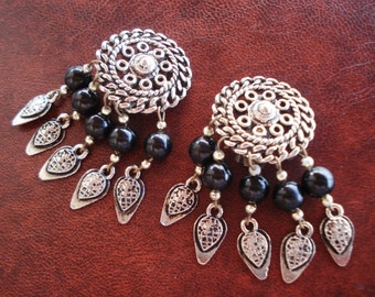 Vintage Antique Silver Black Glass Beads Oriental Style Greek Round Clip On Earrings 1960s