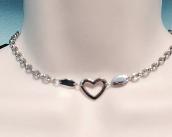 Solid Stainless Steel floating hollow heart BDSM submissive day collar necklace