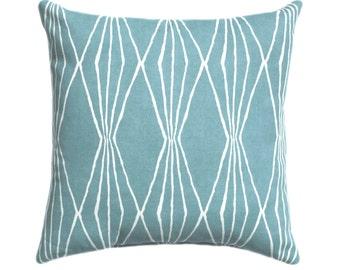 Blue Diamonds Geometric Decorative Hidden Zipper Pillow Cover, Handcut Shapes Rain Throw Pillow, Spa Blue Pillow Cover, Blue Modern Pillow