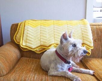 Large Yellow Vintage Knit Afghan Blanket