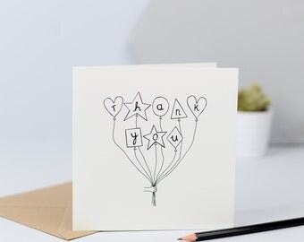 Clean Lines Thank You Balloons card, monochrome, chic, simple, black and white, hand drawn, illustration, thanks, CODE-CL9