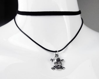 Black Leatherette Double Layer Choker with Pendant - Skull