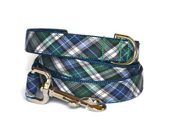 Navy And Green Summer Plaid Dog Leash, Plaid Dog Leash, Navy Plaid Dog Leash, Tartan Dog Leash, Preppy Dog Leash, Plaid Dog Lead