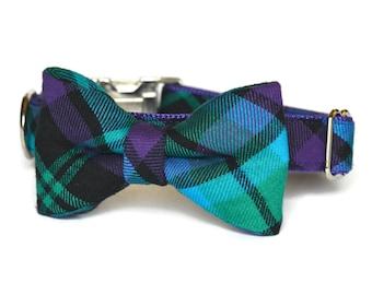 Purple & Aqua Plaid Dog Bow Tie Collar, Plaid Bow Tie Collar, Bow Tie For Dog, Tartan Bow Tie Collar, Plaid Bow Tie, Metal Hardware, Bowtie