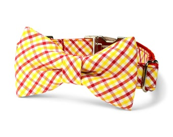 USC Trojans Bow Tie Dog Collar, Red Gold Gingham Dog Bow Tie Collar, Preppy Dog Collar, Gingham Dog Bow Tie, USC Dog Collar