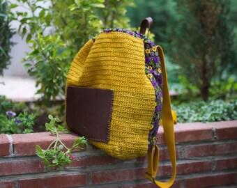 Backpack - handmade hemp and leather