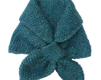 Blue green Keyhole scarf Hand knitted Ascot scarf Neck Warmer Headband Short Scarf winter scarflette hand knitted scarves stay put