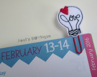 "Felt Paper Clip Bookmark - ""Love Light Bulb"" Bookmark - Valentine's Day Bookmark - Planner Accessory"