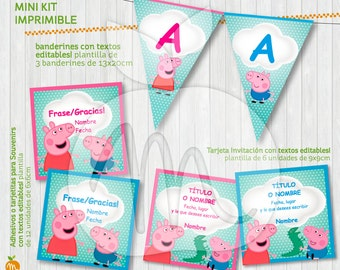 Peppa Pig and George Pig Printable Kit with Editable Texts! INSTANT DOWNLOAD!!