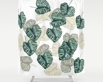 """Shower Curtain - 'Philodendron Leaves' - 71"""" by 74"""" Home, Decor, Bathroom, Bath, Dorm, Girl, Decor, Hippie, Boho, Bohemian"""