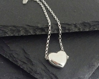 Silver Heart Necklace, Sliding Heart Necklace, Silver Heart Charm Necklace, Puffed Heart Necklace Sterling Silver, Gift for Her, Eloise B