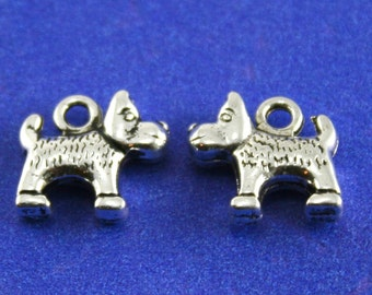 8 pcs- Small 14mm Antiqued Silver Dog Charm, 3 Dimensional Puppy Pendant, Double Sided Dog Charm- AS-B00057-8S