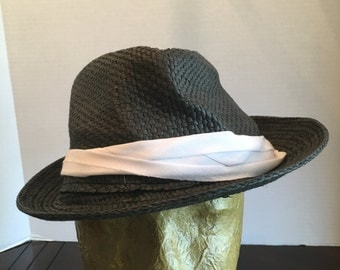 Vintage Black Straw Hat, Charming Charlie's