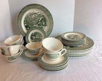 Knowles Currier and Ives Country Life Vintage Dinner Set, Green Printi
