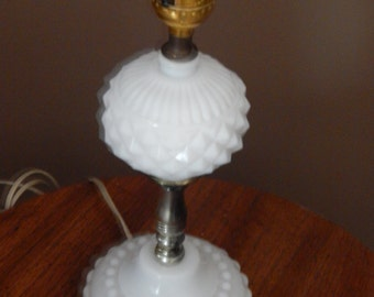 Milk Glass, Hobnail, diamond cut, lamp