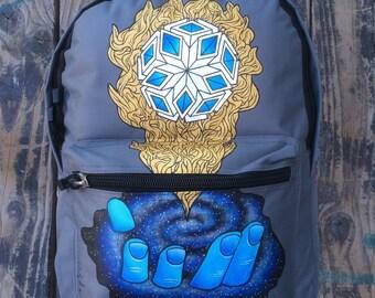 "Hand-painted Backpack w/ Original ""TranscendentAmalgam"" Design"