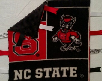NC State Infant security blanket with ribbons