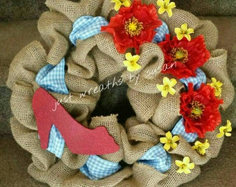 Wizard of Oz Wreath, Dorothy Wreath, Red Ruby Slippers wreath