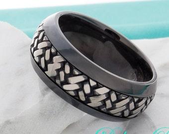 Black Titanium Ring Mens Womens Wedding Band 9mm Black Sculpted Braided Crochet Pattern Anniversary Promise Engagement FREE Laser Engraving
