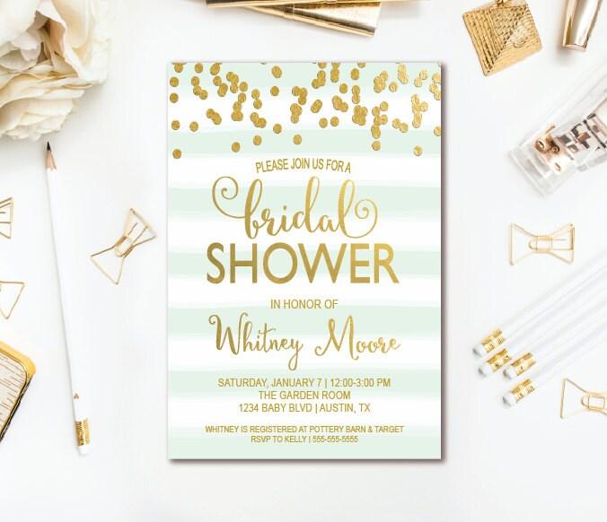 Mint Invitations Wedding: Mint & Gold Bridal Shower Invitation Stripe Confetti Wedding