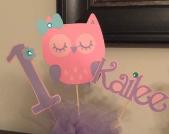 3 pcs Centerpieces with Name piece, Owl Birthday Decor, Owl Party Decor,Look Whoo's One Decor, Custom Owl Centerpiece, Owl Party Decorations