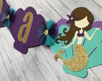 Deluxe Mermaid Name Banner,Mermaid Birthday Banner, Mermaid Baby Shower, Mermaid 1st Birthday, Mermaid Party Banner, Custom Mermaid Banner