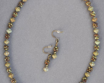 Brown and Green Picasso Finish Necklace and Earring Set