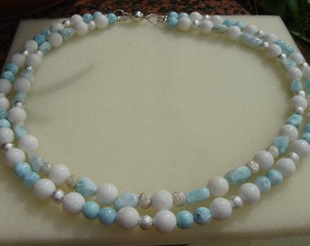 Necklace with white coral and Larimar, beautifully summery!