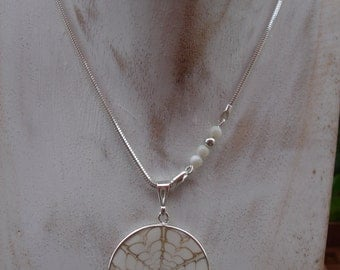 Silver necklace, sterling silver high-gloss, with shell trailer