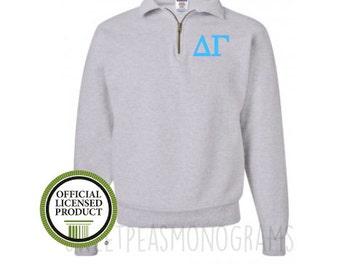 Delta Gamma Quarter Zip, Monogram Fleece Pullover, Monogram Sweatshirt, Monogram Pullover, Sorority Pullover, Big Little Gift, DG