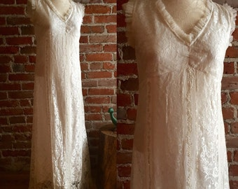 Vintage BOHO Wedding Dress/Gown, Made in India, Lace & Crystal Bead Details